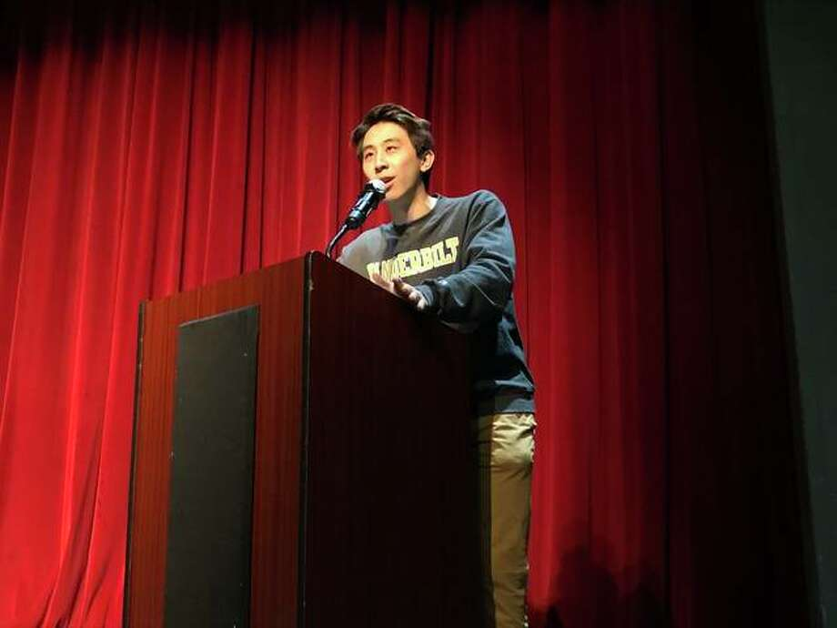 President of the EHS Class of 2019, Joey Lu, led the EHS Academic Signing Day last week. Photo: By Julia Biggs | The Intelligencer