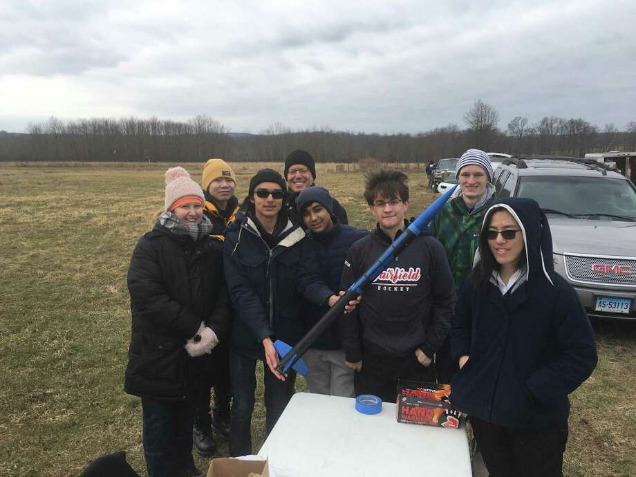 Members of the Rocketry Club and their advisors, William Allen, founder and co-captain; Yujia Feng, co-captain; Rushil Mallarapu, co-captain; Sean Houghton, Armaan Arjoomal; Dr. Jessica Davis-Pieneke, academic advisor; Mr. David Greenapple, team mentor. Photo: Contributed Photo
