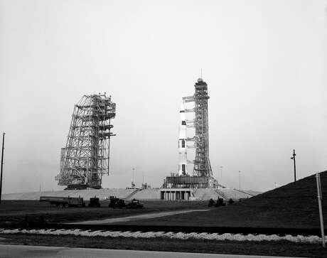(11 March 1969) --- Overall view of Pad B, Launch Complex 39, Kennedy Space Center, showing the Apollo 10 (Spacecraft 106/Lunar Module-4/Saturn 505) space vehicle during a Countdown Demonstration Test. The Apollo 10 flight is scheduled as a lunar orbit mission. The Apollo 10 crew will be astronauts Thomas P. Stafford, commander; John W. Young, command module pilot; and Eugene A. Cernan, lunar module pilot.