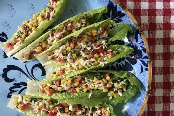 Lemony Crab-Corn Lettuce Cups