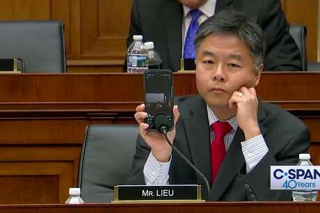 Rep. Ted Lieu, D-Torrance (Los Angeles County), plays a recording of conservative commentator Candace Owens' comments during a House Judiciary Committee hearing April 9.
