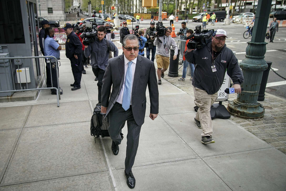 NEW YORK, NY - MAY 7: Mark Agnifilo, the attorney representing alleged sex cult leader Keith Raniere, arrives at the U.S. District Court for the Eastern District of New York, May 7, 2019 in the Brooklyn borough of New York City. Opening arguments begin on Tuesday morning for the trial of Keith Raniere, the leader of the alleged sex cult NXIVM. Raniere, who could potentially face life in prison, has pleaded not guilty to sex trafficking, racketeering and other charges.