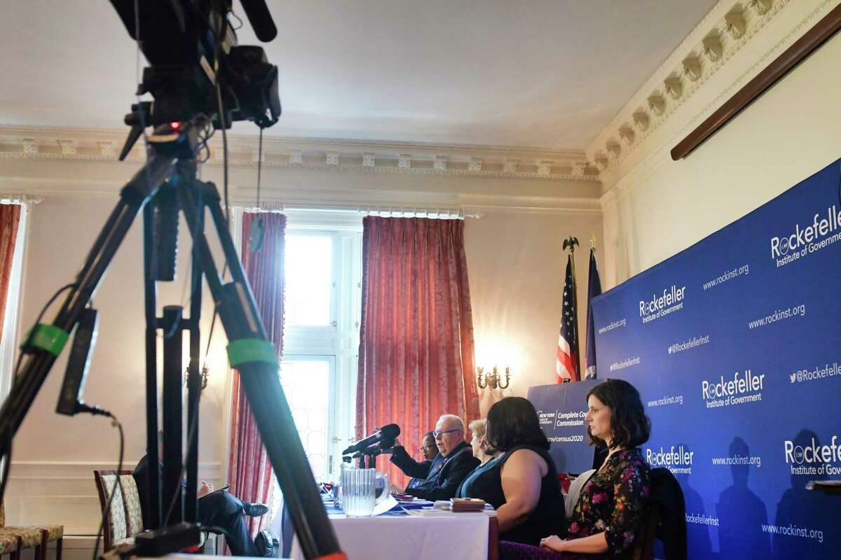 Members of the Census Complete Count Commission hold a public hearing at the Rockefeller Instittue on Tuesday, May 7, 2019, in Albany, N.Y. (Paul Buckowski/Times Union)