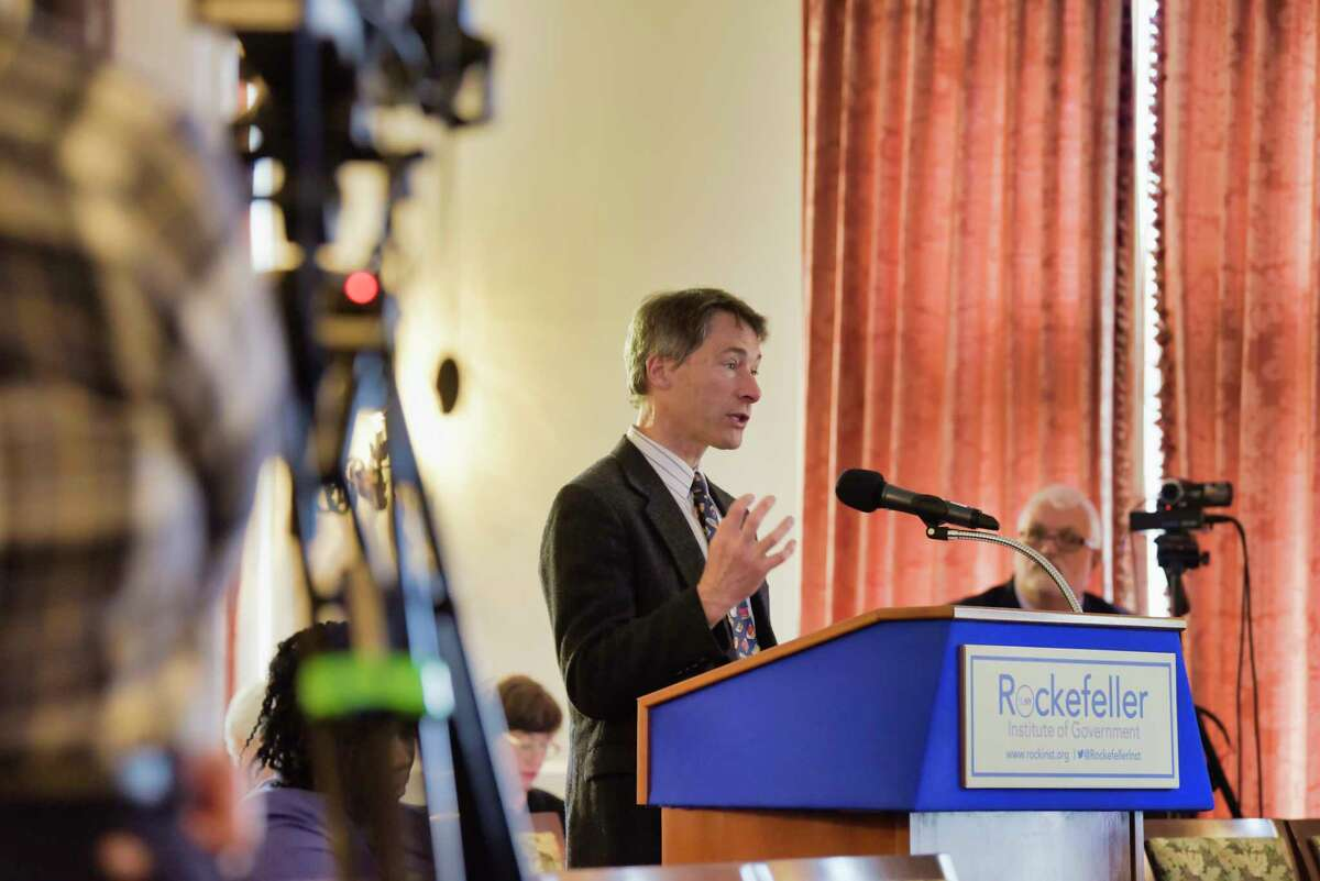 Eric Trahan, executive director of the Mohawk Valley Library System, addresses the members of the Census Complete Count Commission during a public hearing at the Rockefeller Instittue on Tuesday, May 7, 2019, in Albany, N.Y. (Paul Buckowski/Times Union)