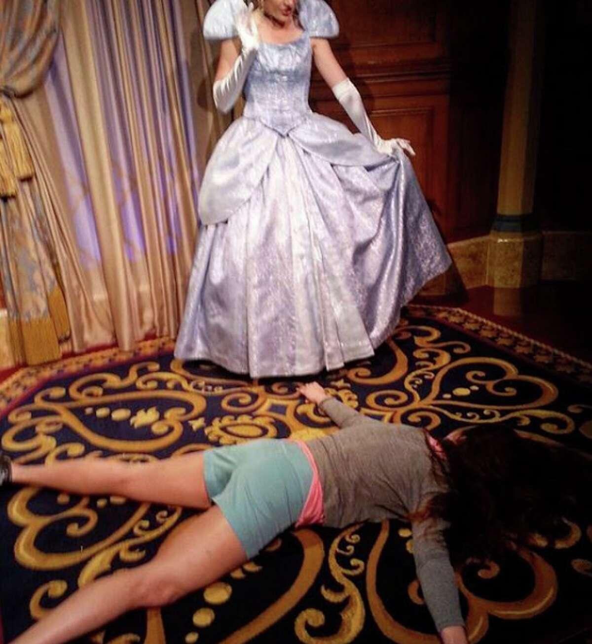 Expecting Prince Charming? At Walt Disney World in Orlando, Stephanie startles Cinderella. (Photo courtesy of Stephanie Leigh)