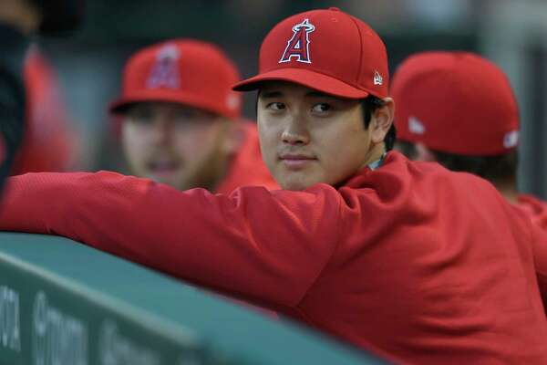 ANAHEIM, CA - APRIL 10: Shohei Ohtani of the Los Angeles Angels of Anaheim sits in the dugout during a game against Milwaukee Brewers at Angel Stadium of Anaheim on April 10, 2019 in Anaheim, California.