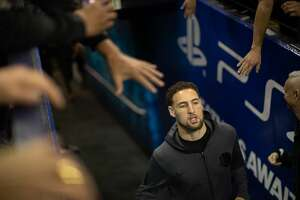 Klay Thompson enters Oracle Arena before game 2 of the Western Conference Semifinals between the Golden State Warriors and the Houston Rockets on Tuesday, April 30, 2019 in Oakland, CA.