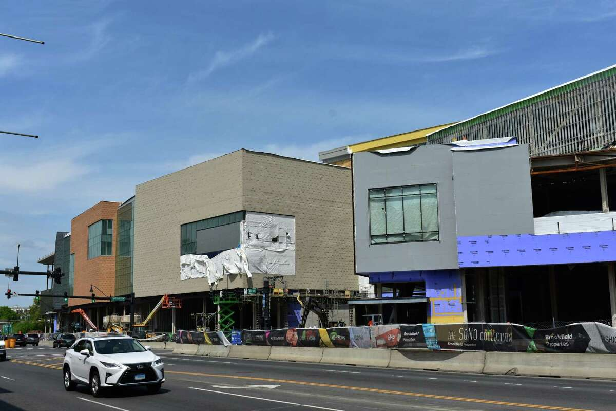The SoNo Collection mall under construction on Tuesday in South Norwalk.