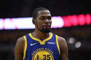 Golden State Warriors forward Kevin Durant (35) is seen between plays during the second half in game 4 of the NBA Western Conference Semifinals between the Golden State Warriors and Houston Rockets at the Toyota Center in Houston, Texas, on Monday, May 6, 2019.
