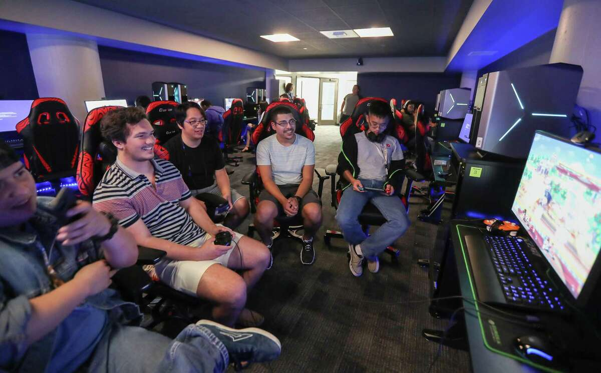 University of Downtown-Houston students practice their esports skills Wednesday, May 1, 2019, in Houston. UHD opened the city's first college esports center in November, a space where gamers can connect and bond, and for the official UHD eSports Team to compete against other universities.