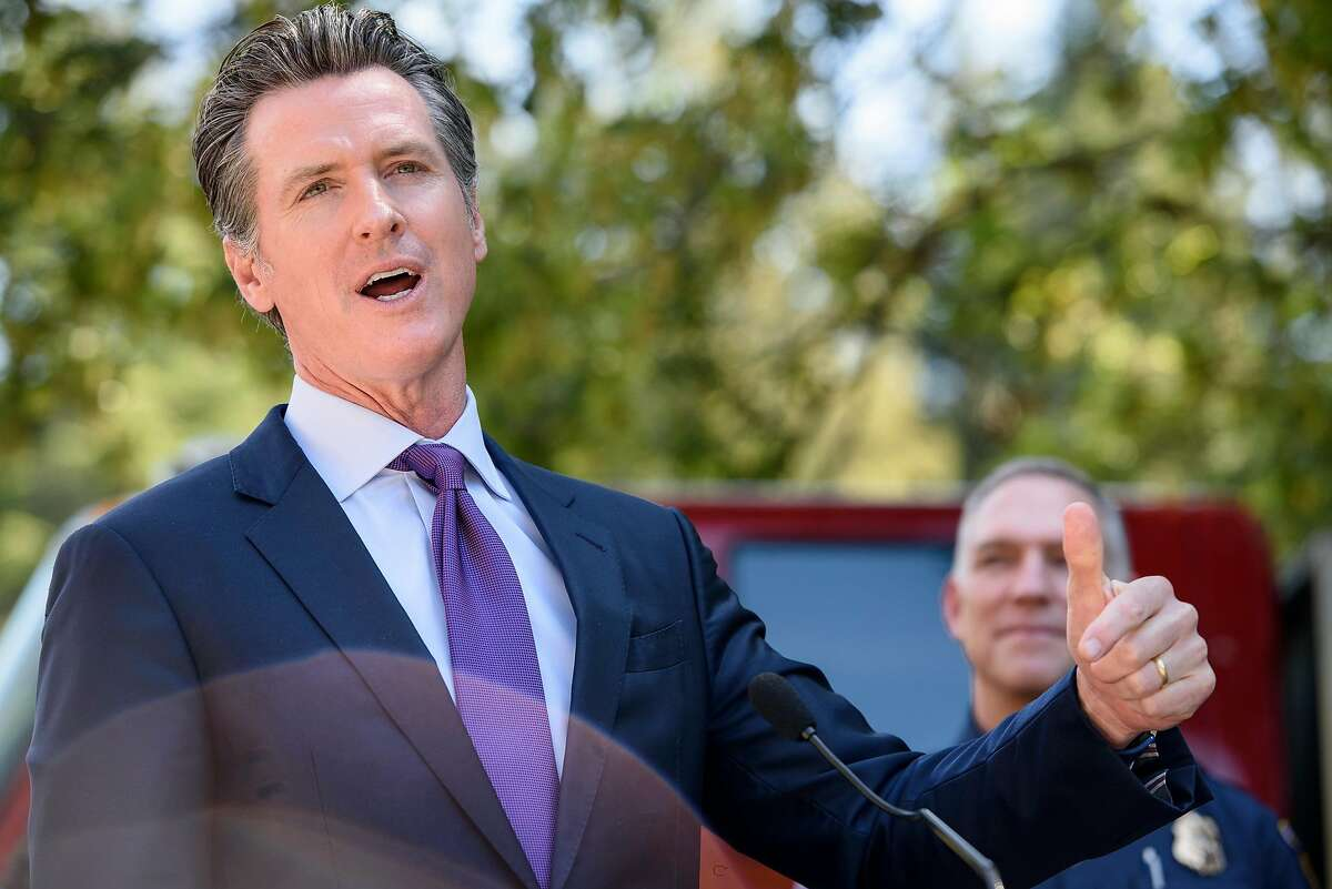 Governor Gavin Newsom speaks during a press conference held in Tilden Park in Berkeley, Calif, on Tuesday, April 23, 2019. Governor Gavin Newsom joins Oakland Mayor Libby Schaaf and Berkeley Mayor Jesse Arregu�n as well as state and local fire officials with Cal Fire to discuss the hazards posed by wildfires at the interface where wild land and urban development meet.