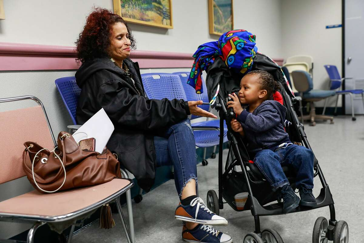 Gloria Berry and grandson Kareem Byrd, 23 months play ahead of a meeting where community groups of the Fillmore Heritage Center met to figure out how to move forward after the center was closed in San Francisco, California, on Thursday, May 2, 2019.The FIllmore Heritage Center closed after a shooting where one person was killed on March 23.