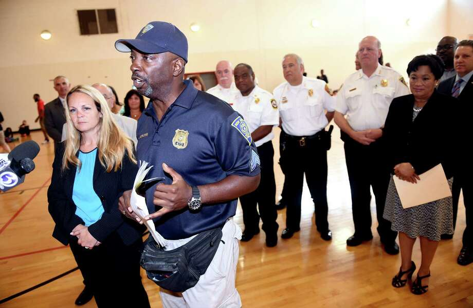 In this file photo, New Haven Police Sgt. Albert McFadden, director of the New Haven Police Athletic League Camp, spoke with the press about the summer camp on the first day at Wilbur Cross High School in New Haven. Photo: Arnold Gold / Hearst Connecticut Media File Photo