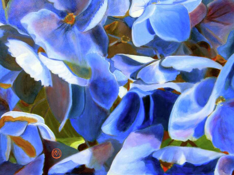 """One of the artworks in the ASOG Spring Show is """"Hydrangea Fandango,"""" an oil painting created by Mariya Rivera. The painting won first place in the Oil Painting category. Photo: ASOG / Contributed Photo"""