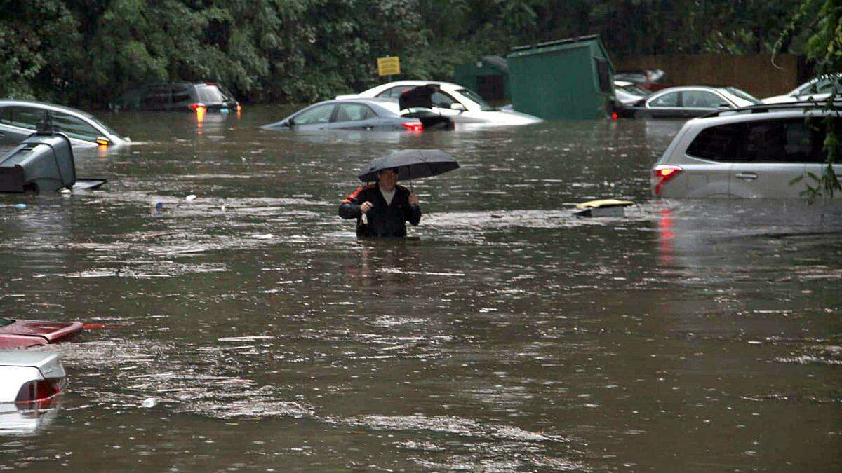 This contributed photo, taken by Daniel Morcarski, showed the extensive flooding on Cartright Street in Bridgeport, Conn., on Sept. 25, 2018.