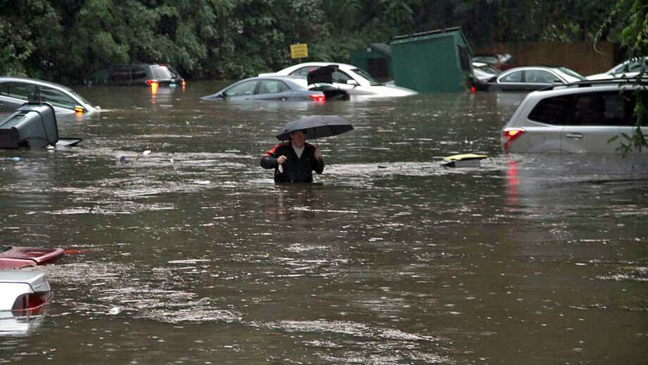 This contributed photo, taken by Daniel Morcarski, showed the extensive flooding on Cartright Street in Bridgeport, Conn., on Sept. 25, 2018. Photo: Contributed Photo / Daniel Mocarski / Contributed Photo / Connecticut Post Contributed