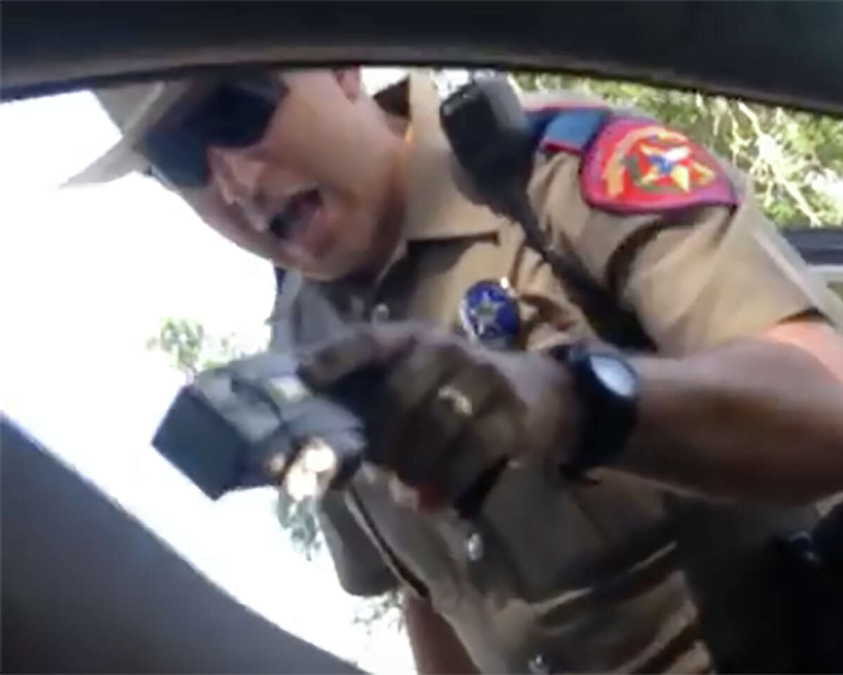 A frame grab from the recently released video from Sandra Bland's cell phone taken by Bland during her arrest.