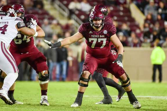 COLLEGE STATION, TX - OCTOBER 28: Texas A& Aggies offensive lineman Ryan McCollum (77) prepares to pass block during the football game between the Mississippi State Bulldogs and the Texas A& Aggies on October 28, 2017 at Kyle Field in College Station, Texas. (Photo by Ken Murray/Icon Sportswire via Getty Images)