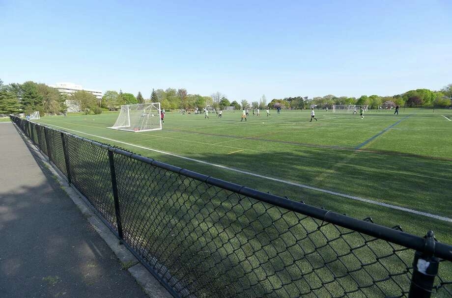 Youth players play a scrimmage game at the soccer fields at West Beach on May 7, 2019 in Stamford, Connecticut. Despite opposition from Shippan residents, the Board of Representatives voted Monday night to allow advertising signs on the fences at the soccer fields at West Beach , home to the Stamford Youth Soccer League. Shippan residents and the city agreed there would be no signs when the city installed the artificial turf fields at West Beach years ago, but league officials said they need to raise money so kids whose families can't afford the fees can still play the game. Photo: Matthew Brown / Hearst Connecticut Media / Stamford Advocate