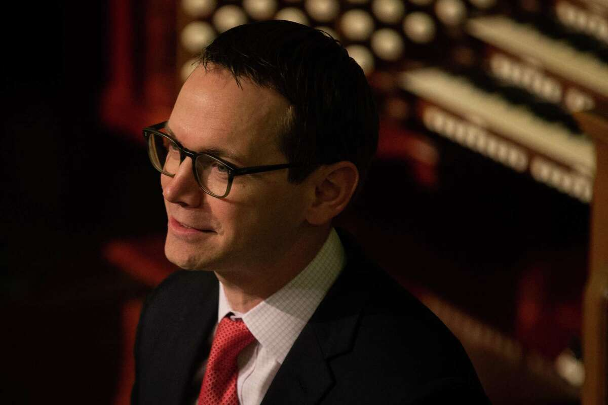 In this February file photo, Texas Education Commissioner Mike Morath speaks during the Texas PTA's Rally Day at First United Methodist Church in Austin. (Michael Minasi / For the Chronicle)
