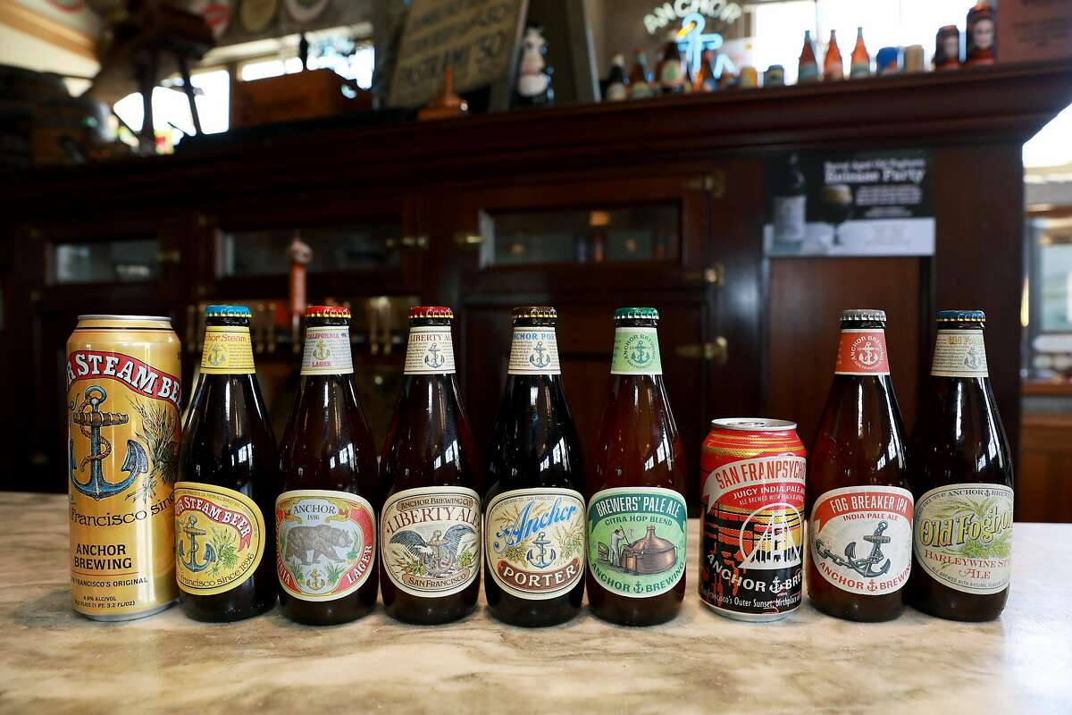 The previous looks for a variety of Anchor Brewing beers, seen at the Potrero Hill brewery in 2019.
