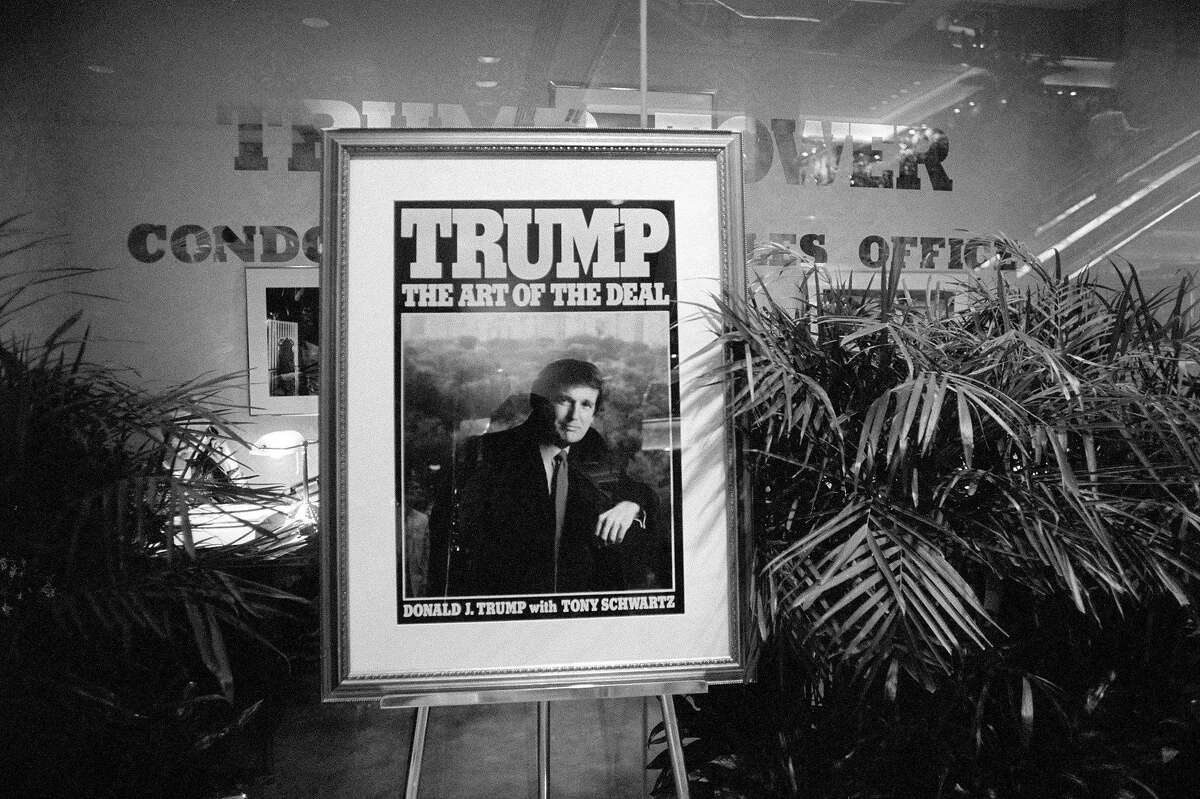 FILE - A poster promoting Donald Trump's
