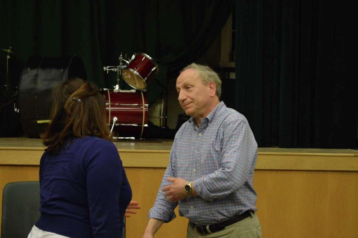 Hamden Councilman James Pascarella, D-8, right, talking with Republican Councilwoman At Large Marjorie Bonadies, left, May 6, 2019.