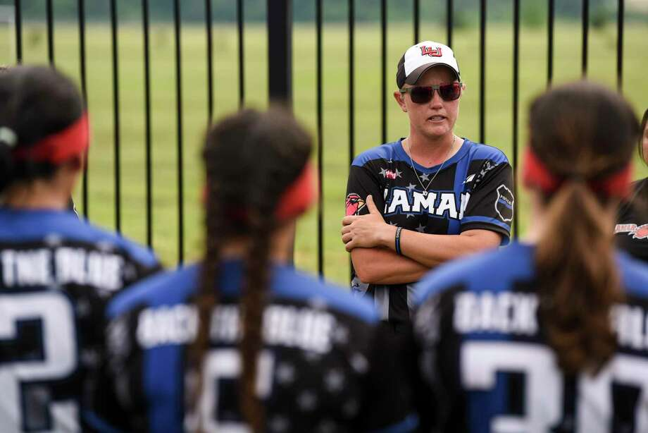 Lamar's Amy Hooks talks to her players after Lamar lost their Southland Conference tournament game against Northwestern State University, who was also hosting the tournament, in Natchitoches Tuesday afternoon. The Cardinals fell to the Lady Demons 4-0. Photo taken on Tuesday, 05/07/19. Ryan Welch/The Enterprise Photo: Ryan Welch, The Enterprise / © 2019 Beaumont Enterprise