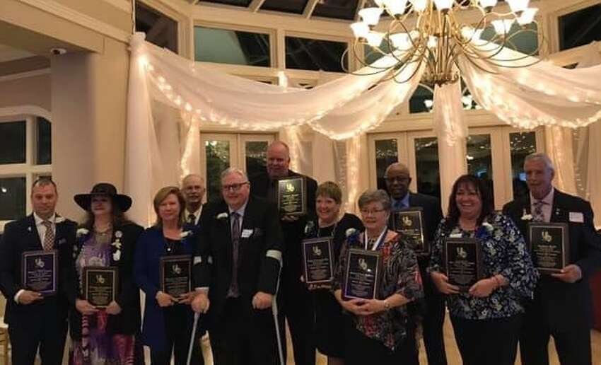 The 2019 Rensselaer High School Alumni Hall of Fame induction dinner was April 27 at Birch Hill Catering, Castleton-on-Hudson. Alumni inducted, listed below, from left, Scott Lewis on behalf of his deceased father, Pat Lewis '67; Susan Garrigan '75; Karen Urbanski, former principal; Thomas Mulyca '69; James Kapp, former teacher and coach with Barry Cavanaugh holding plaque; Tracy Farley '83; Doris Roberts '61; Tony Butler '67; Suzanne Whitford on behalf of her deceased husband Robert Whitford '82;and Arthur Felt '67. Missing is Lynne Beiermeister on behalf of her deceased relatives G. Arthur and Marie Lee Hall, 1902. (Provided)