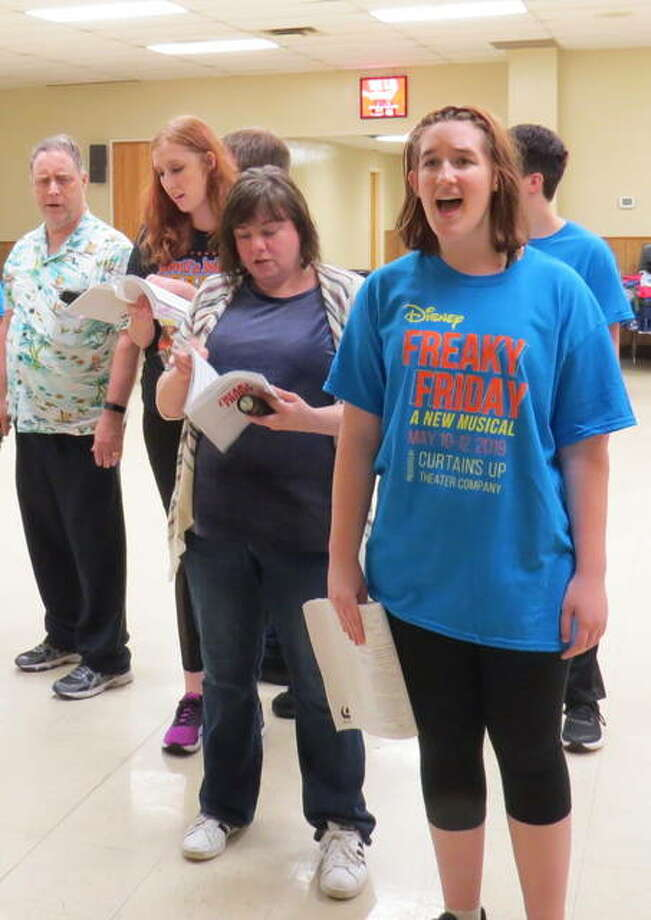 The cast of Freaky Friday rehearses one of the musical numbers. The show opens Friday, May 10 at SIUE's Dunham Theater. Photo: Carol Arnett | For The Telegraph