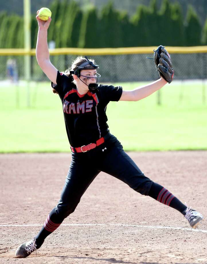 Cheshire's Bri Pearson tossed a no-hitter in a 3-0 win over rival Amity on Tuesday. Photo: Arnold Gold / Hearst Connecticut Media / New Haven Register