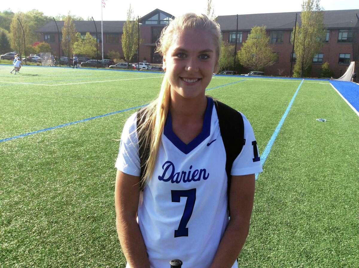 Darien senior midfielder Charlotte Wittstock tallied twice in the Blue Wave's 21-8 win over Greenwich on Tuesday in Darien.