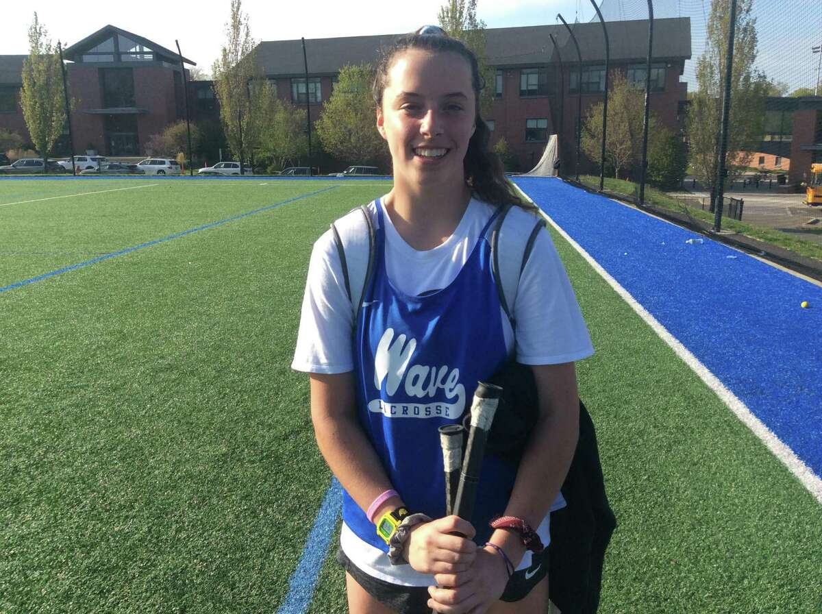 Darien freshman goalie Shea Dolce made eight saves in the Blue Wave's 21-8 win over Greenwich on Tuesday, May 7, 2019, in Darien.