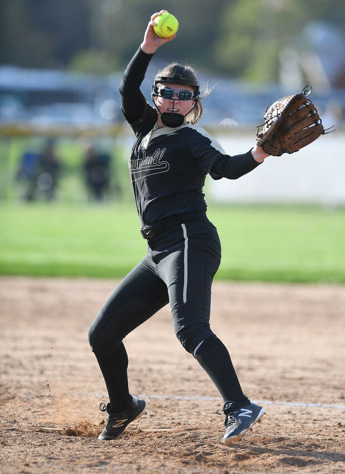 Trumbull hurler Emily Gell delivers to the plate during their softball game with Fairfield Warde at Trumbull High School in Trumbull, Conn. on Tuesday, May 7, 2019.