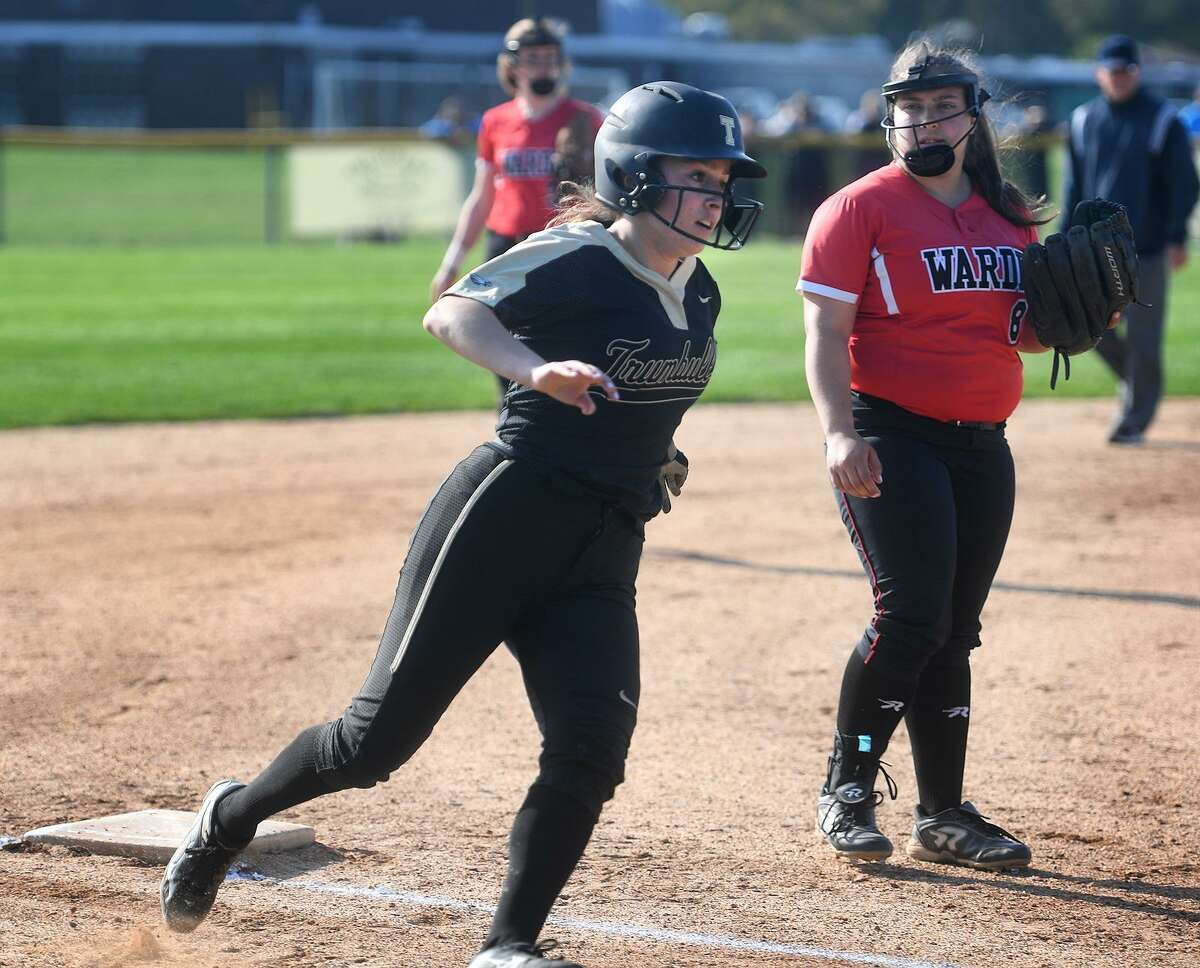 Trumbull's Alexa Adinolfi rounds third base before going on to score a run in a five run second inning during their softball game with Fairfield Warde at Trumbull High School in Trumbull, Conn. on Tuesday, May 7, 2019.