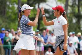 AUGUSTA, GEORGIA - APRIL 06: Maria Fassi (R) of Mexico and Jennifer Kupcho of the United States react on the 18th green during the final round of the Augusta National Women's Amateur at Augusta National Golf Club on April 06, 2019 in Augusta, Georgia. (Photo by Kevin C. Cox/Getty Images)