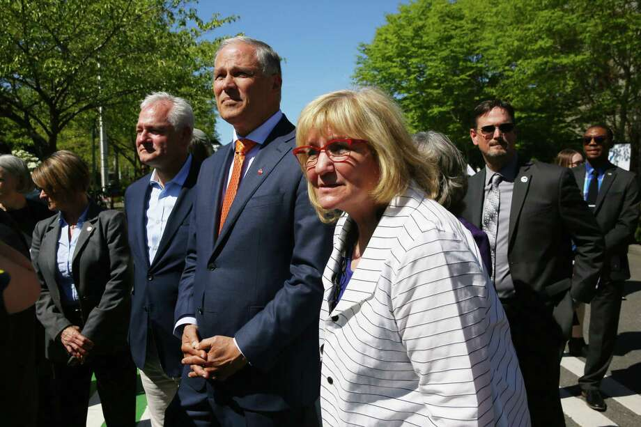 """Gov. Jay Inslee and wife Trudi: """"Republicans are plotting. They have a plan to unseat me next year, and they could put it in motion at any moment."""" Photo: Genna Martin, SEATTLEPI / GENNA MARTIN"""