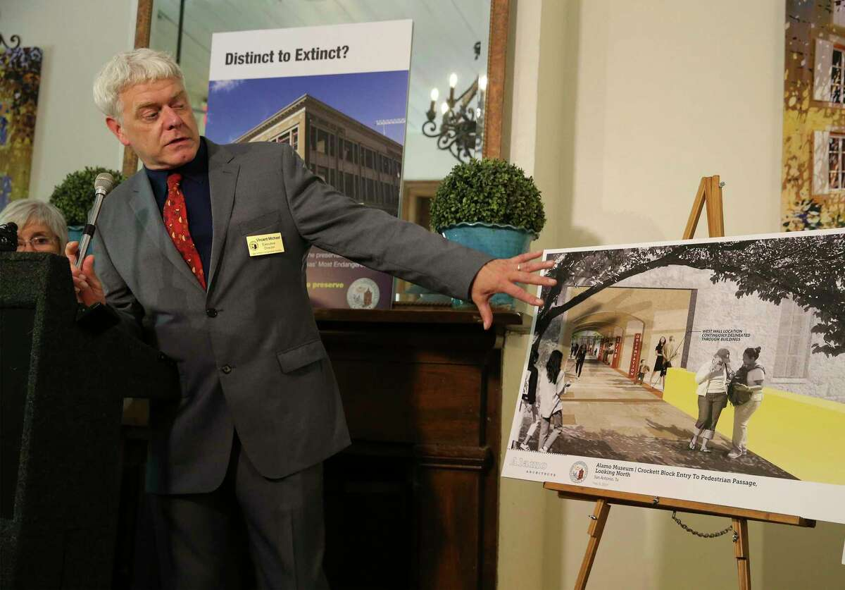 """Vincent Michael, executive director of the San Antonio Conservation Society, discusses the renderings of Alamo Plaza as officials with the San Antonio Conservation Society unveil a """"compromise plan"""" that would preserve two of three historic state-owned buildings on the west end of the plaza as part of a new museum during a press conference on Tuesday, May 7, 2019. One of the biggest controversies tied to a public-private project to overhaul the plaza, at a cost of up to $450 million, has been potential partial demolition of the 1921 Woolworth Building, 1923 Palace theater and 1882 Crockett Building. The Woolworth Building once housed one of several lunch counters that peacefully desegregated in 1960, putting San Antonio in a national spotlight during the U.S. civil rights movement and the San Antonio Conservation Society believes that history is as important to the footprint around Alamo Plaza as the historic mission itself. (Kin Man Hui/San Antonio Express-News)"""
