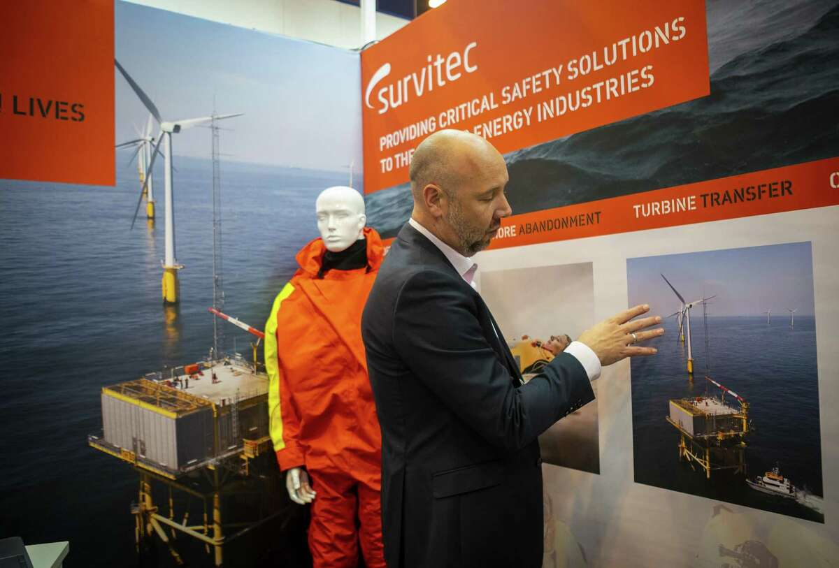 Kevin Laing, with Survitec, talks about how his company's technology works while servicing offshore wind turbines, during the annual Offshore Technology Conference inside Houston's NRG Center, Tuesday, May 7, 2019.