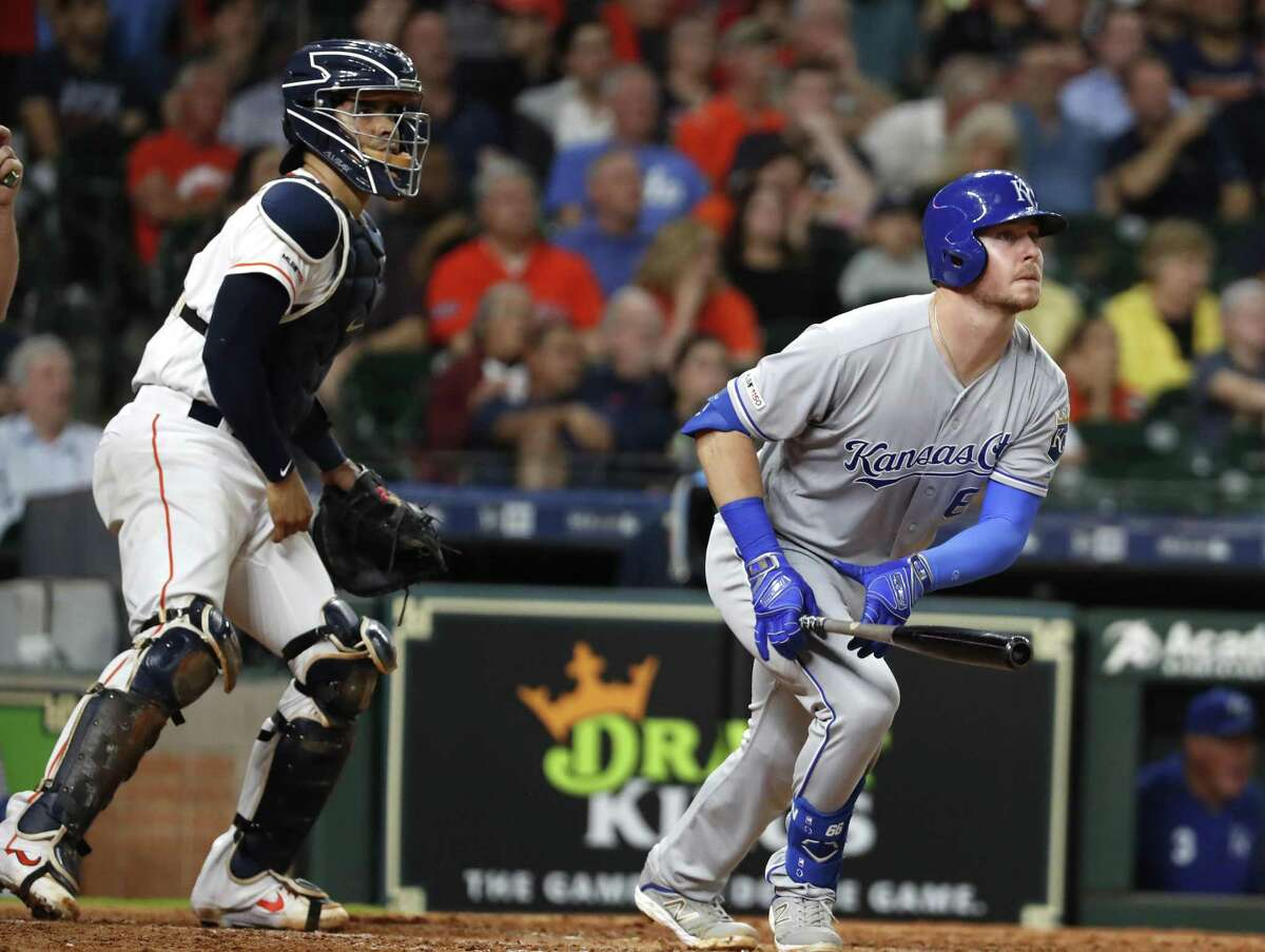 To the dismay of Astros catcher Robinson Chirinos and delight of Royals first baseman Ryan O'Hearn, a Collin McHugh pitch is headed to the right-field seats for a third-inning grand slam that put Kansas City up 6-0 on Tuesday night at Minute Maid Park.