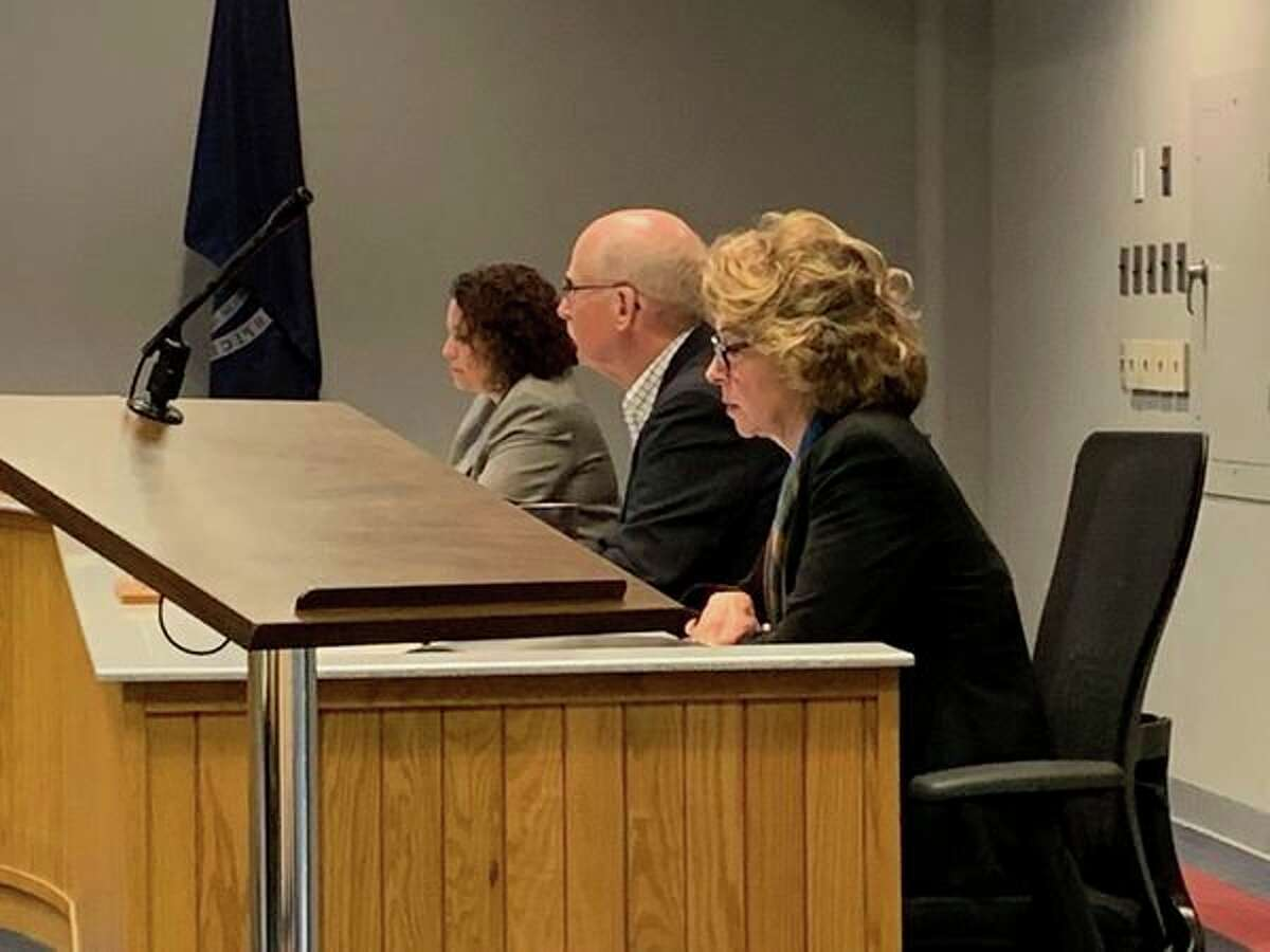 Left to right, commissionersJeanette Snyder,Steve Glaser and Gaye Terwillegar attend to Midland County Board of Commissioners business at a regular meeting on May 7, 2019.