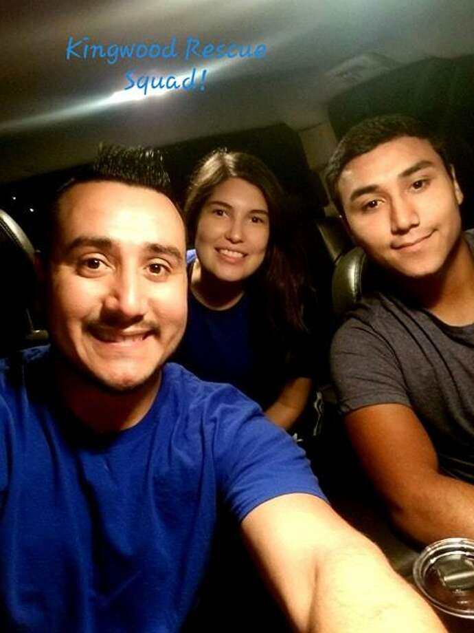Javier Osornio, his wife Alexandra Leon and his brother Cristofer Osornio used a lifted 2011 Chevrolet Silverado to glide over the flooded streets Tuesday. Javier and Leon are University of Houston 2014 alumni. Photo: Courtesy Photo Of Javier Osornio