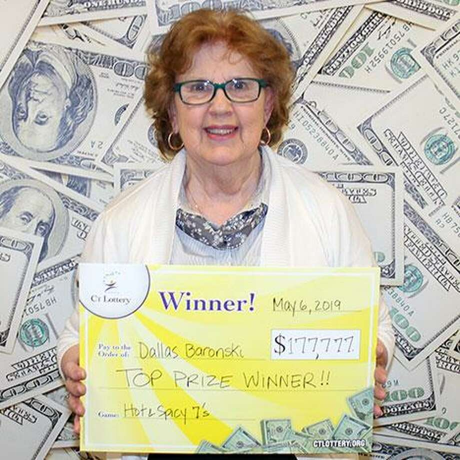 Dallas Baronski, 73, of Branford, won $177,777 on a CT Lottery Hot -N- Spicy 7 ticket. Baronski. who has worked at McDonalds for 40 years, plans to pay off her mortgage and buy a new car. Photo: CT Lottery Photo