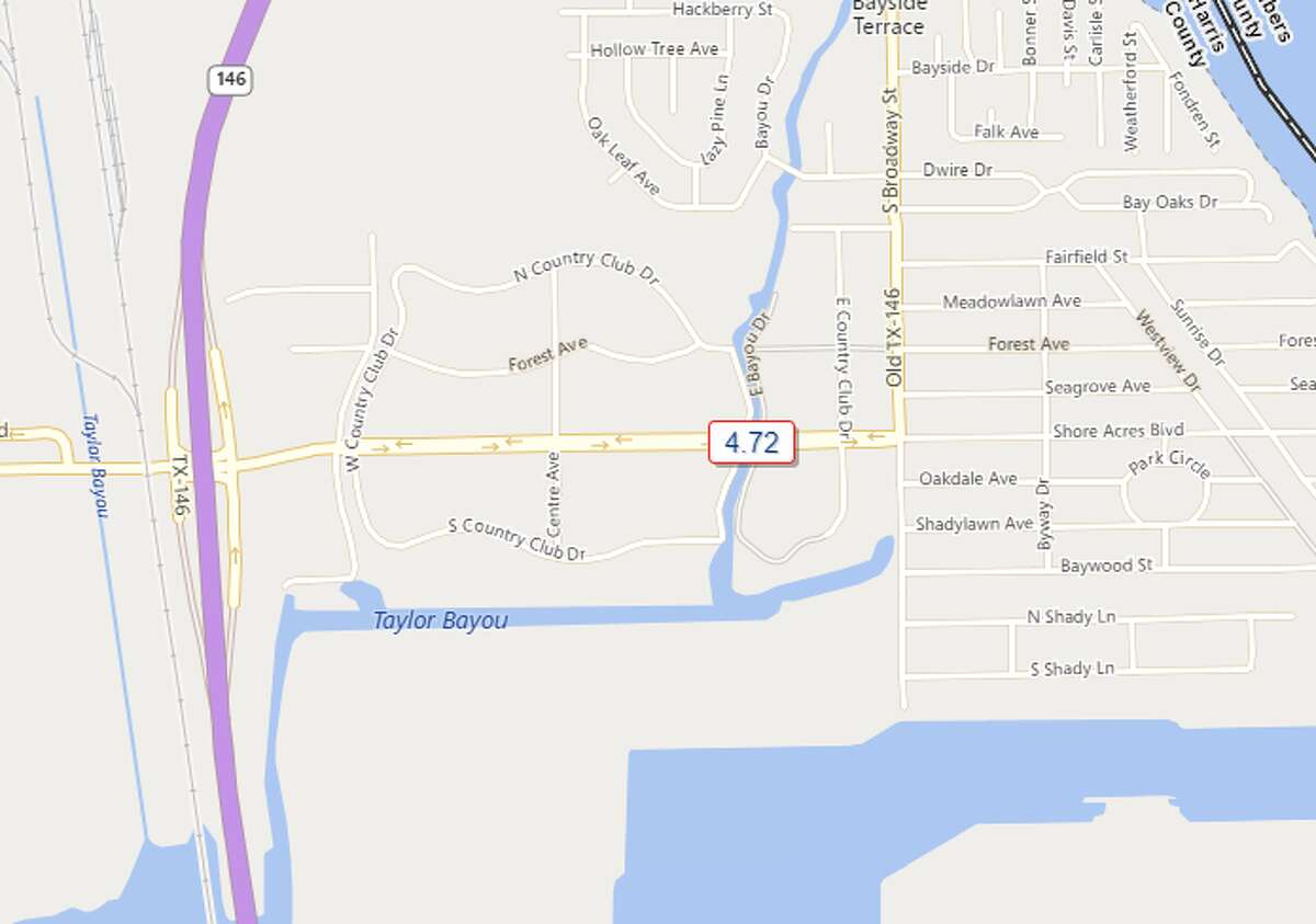 State Highway 146 and Shore Acres Blvd. Southeast Harris County 4.72 inches