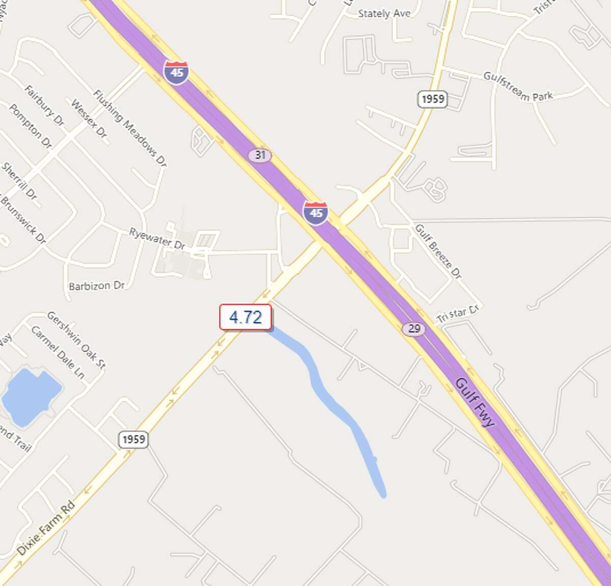 FM1959 and Interstate 45 Southeast Harris County 4.72 inches