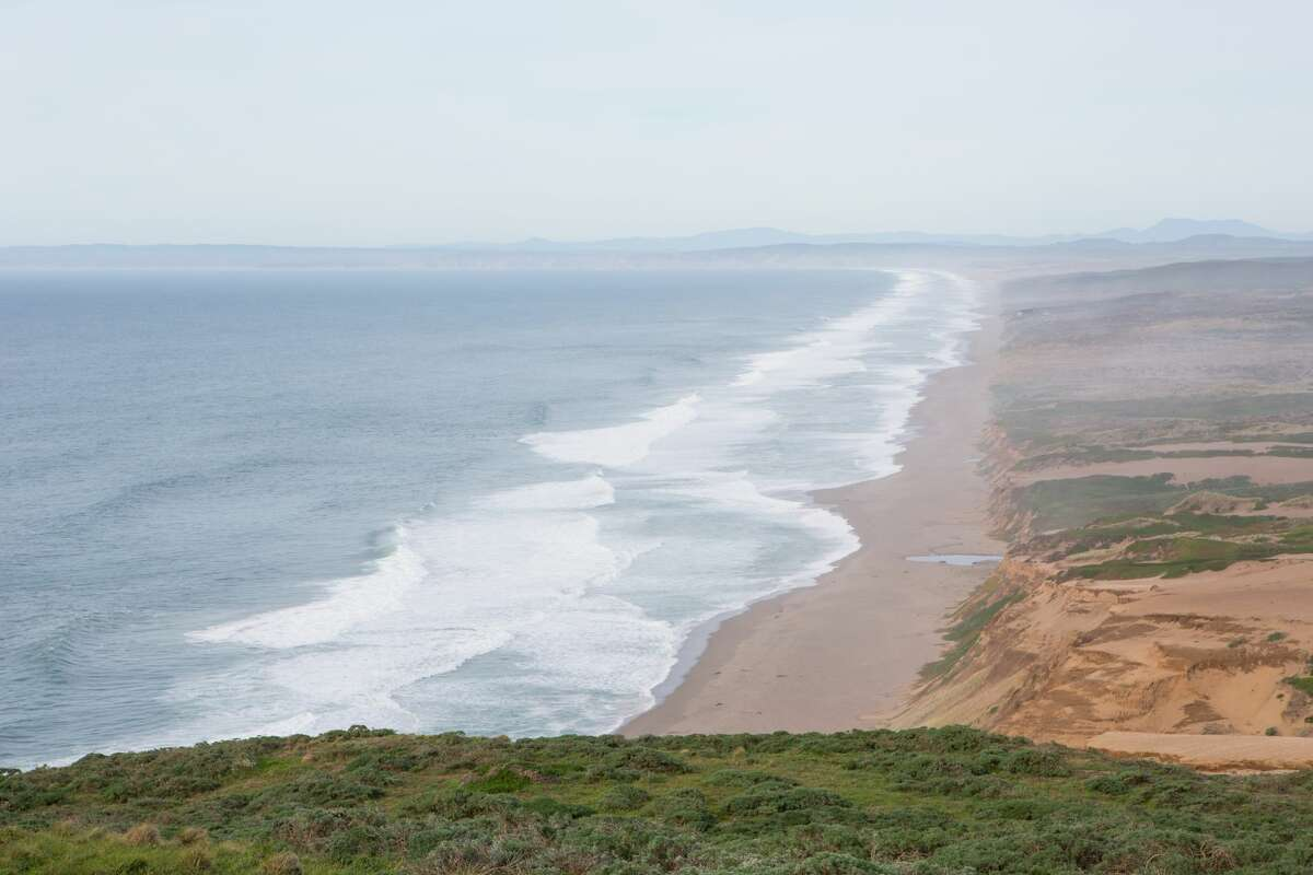 Image of Point Reyes South Beach viewed from the lighthouse.