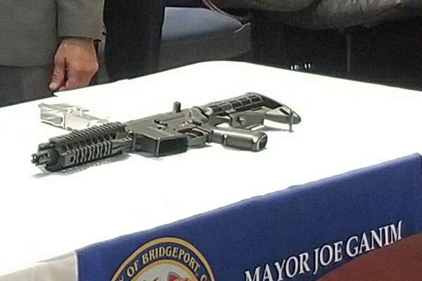 A ghost gun with a 3D-printed part that was seized last year in Bridgeport.