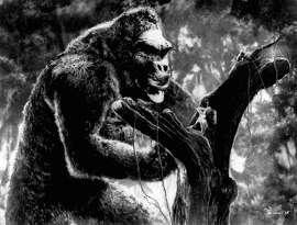 "Fay Wray in distress in ""King Kong"""