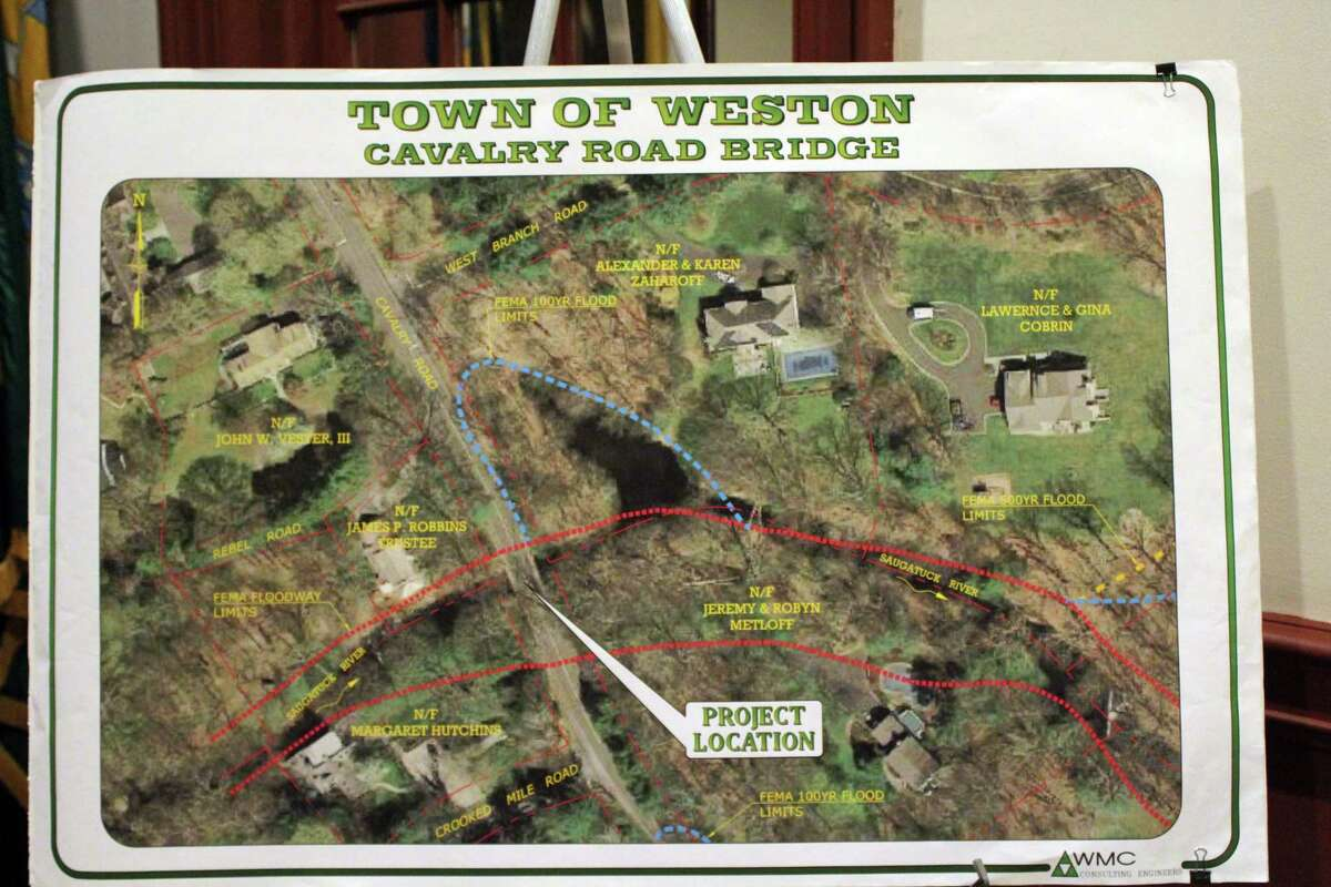 A map of the Cavalry Road Bridge area depicts the planned construction plan, during a public information meeting at Weston Town Hall on May 7, 2019.