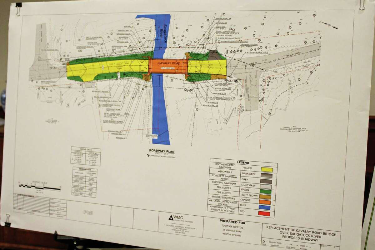A map depicts a proposed roadway during construction of the Cavalry Road Bridge, during a public information meeting at Weston Town Hall on May 7, 2019.
